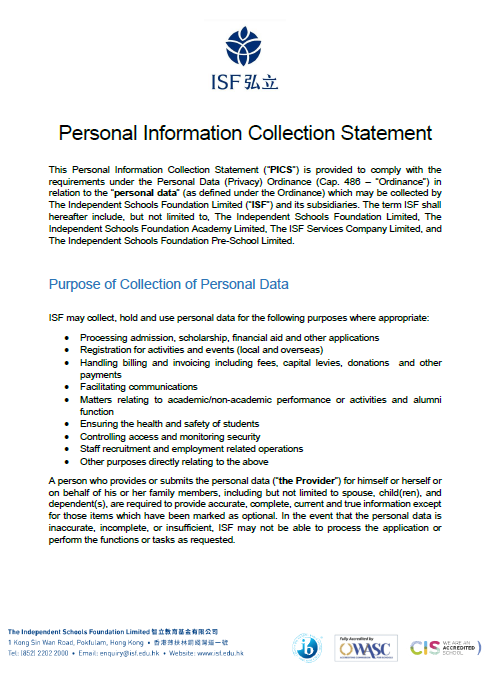 Personal Information Collection Statement