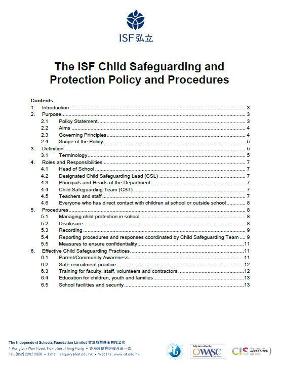 The ISF Child Safeguarding and Protection Policy and Procedures